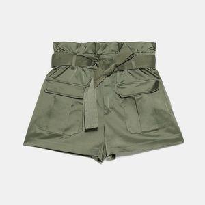Zara Belted High Waist Cargo Short